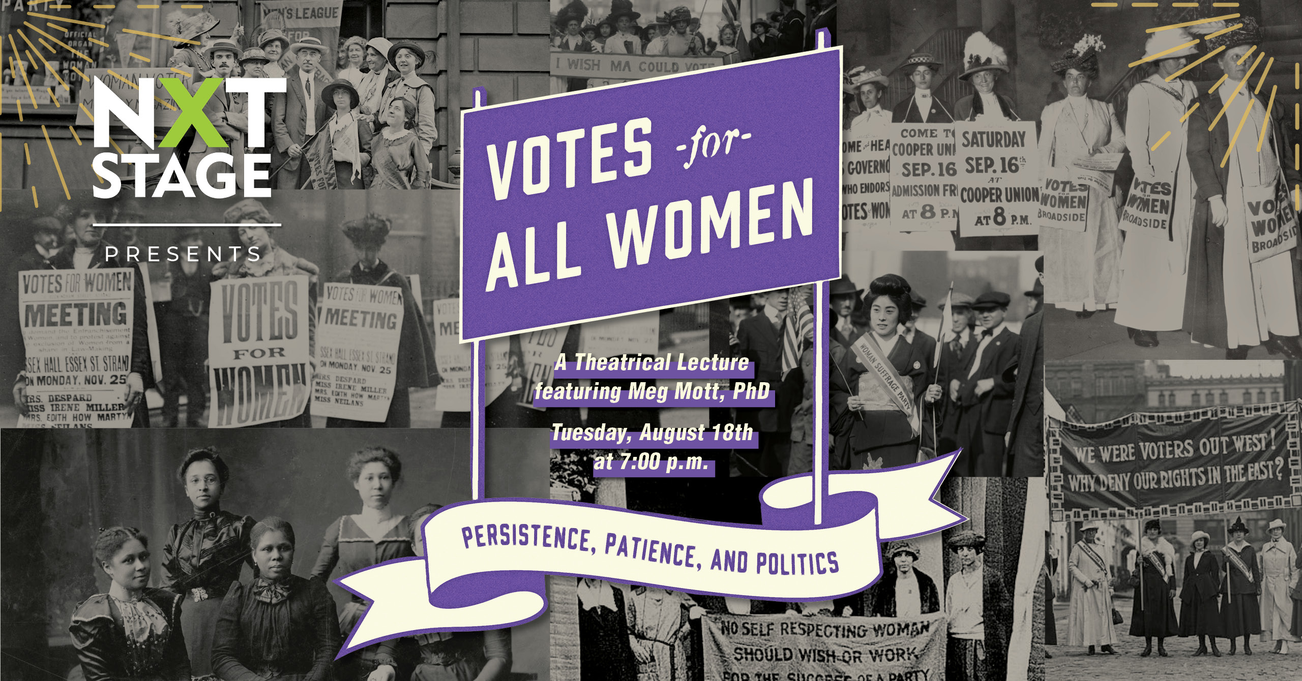 an image of suffragists persistence, patience & politics
